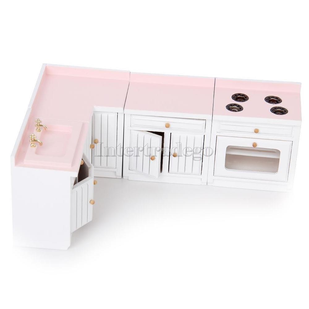 Details about 1/12 Miniature Furniture Wood Kitchen Combination ...