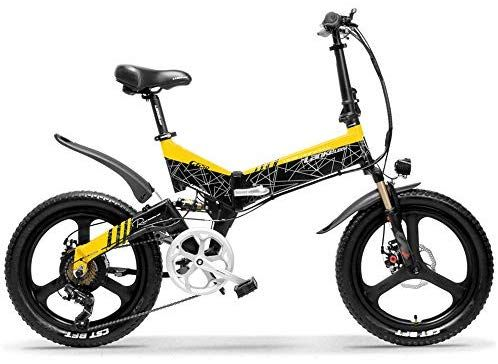 a6cb617eb07 LANKELEISI G650 20 Inch Folding Electric Bike 400W 48V 10.4Ah Li-ion Battery  5 Level Pedal Assist Front & Rear Suspension (Black Yellow, 10.4Ah + 1  Spare ...