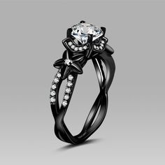 Bon Vancaro Black Flower Style Cubic Zirconia 925 Sterling Silver Black  Engagement Ring And Wedding Ring