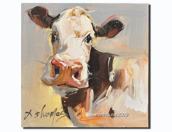 "Cow art print from original cow painting 8x8/"" signed by artist"