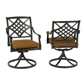 Allen Roth Whitley Place Cast Aluminum Swivel Rocker Patio Dining Chairs Set Of 2