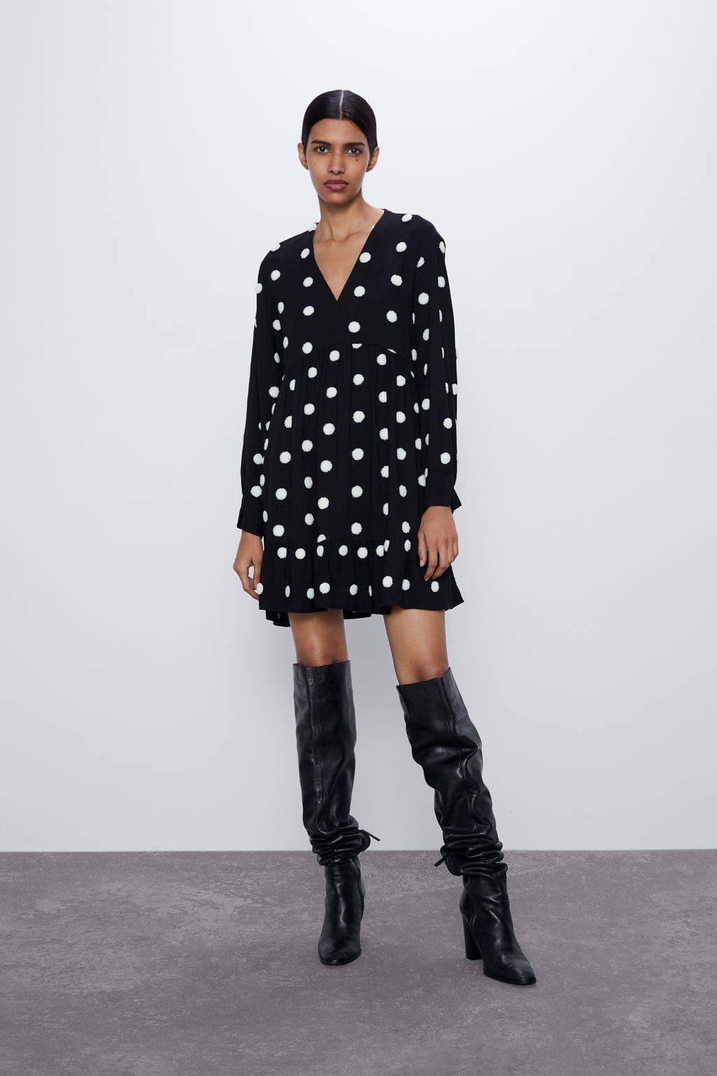 Kleid mit aufgestickten punkten in 2020 | Kleider, Kleider ...