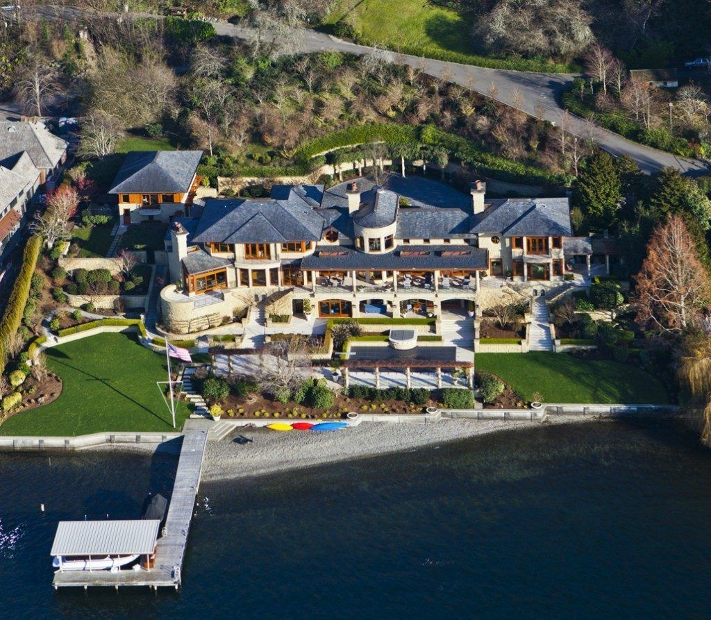 This mega mansion in Washington State has patios, balconies, terraces, a  pool,
