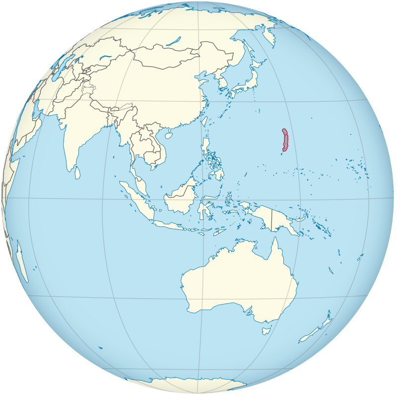 Northern Mariana Islands on the globe (Southeast Asia centered) (small islands magnified)