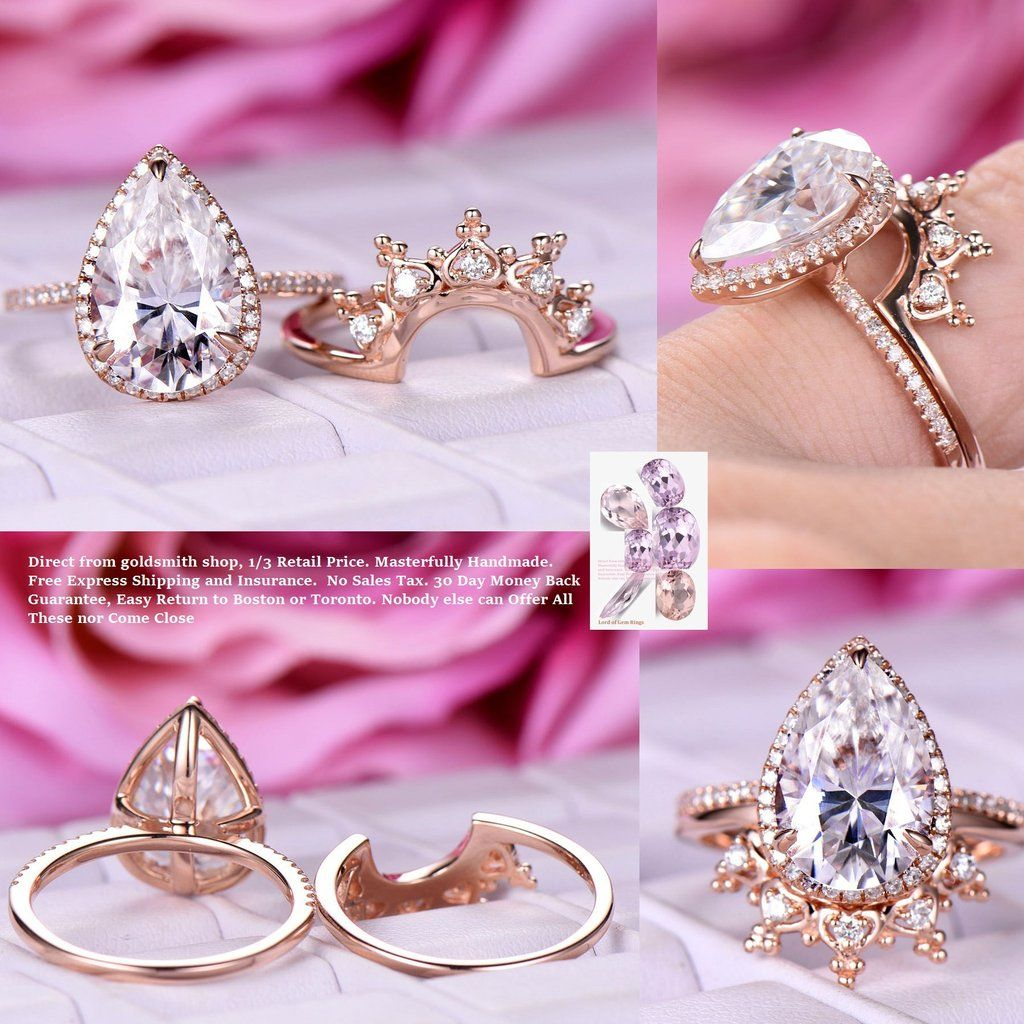 Pear Moissanite Engagement Ring Sets Tiara Wedding Band 14K Rose ...
