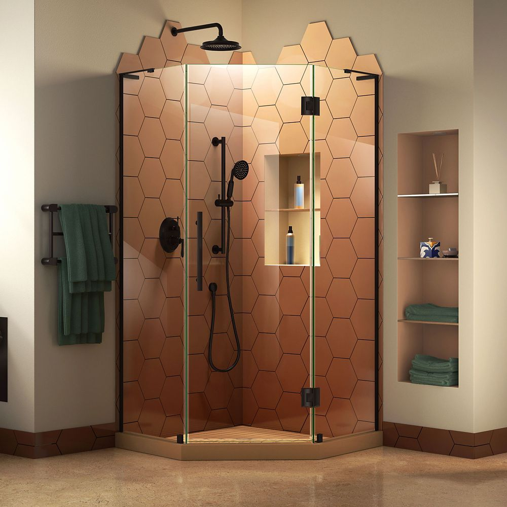 Prism Plus 38 Inch D X 38 Inch W X 72 Inch H Frameless Hinged Shower Enclosure In Satin Black Frameless Shower Enclosures Neo Angle Shower Corner Shower Kits