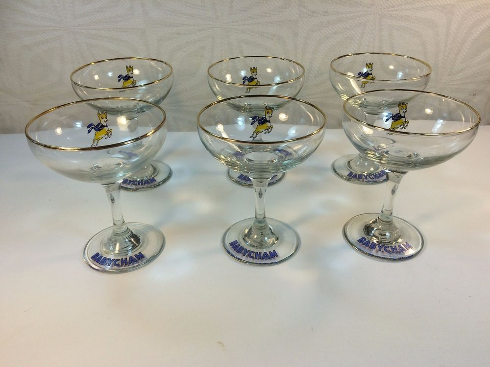 Vintage Babycham Glasses Set of 6 1970s Yellow Leaping Fawn Round Stems  | eBay
