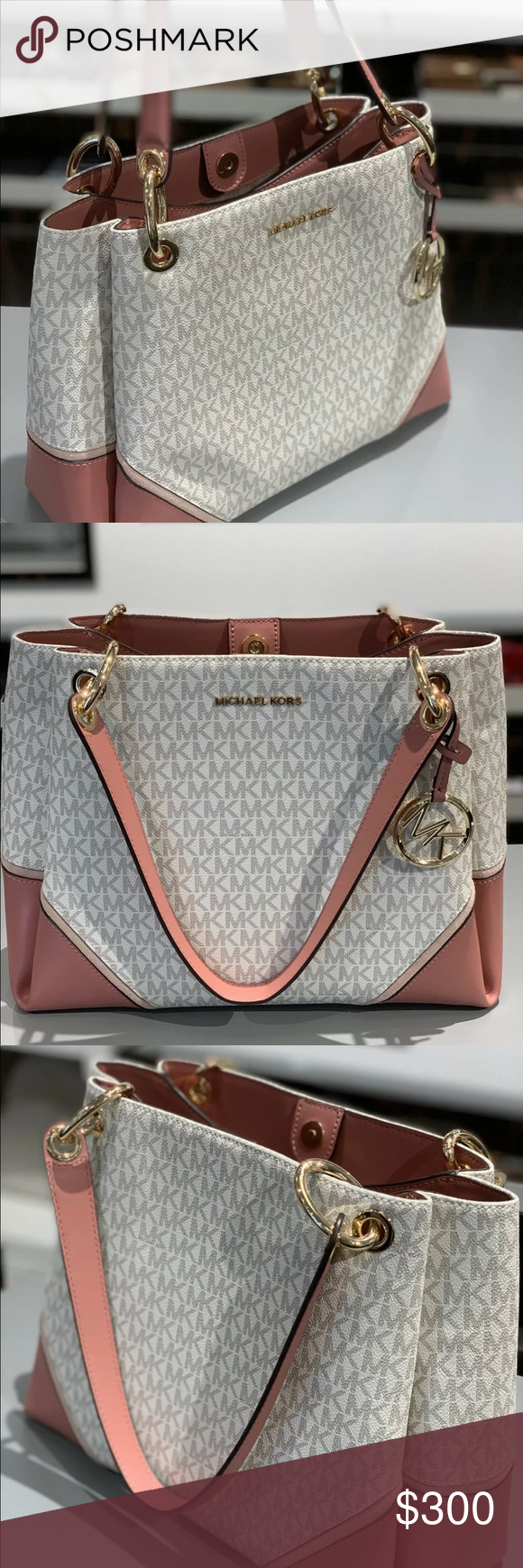 45ffe2588777 Michael Kors Nicole Lg Shoulder Tote bag Vanilla Handbag  Large Shoulder  Tote PVC Leather