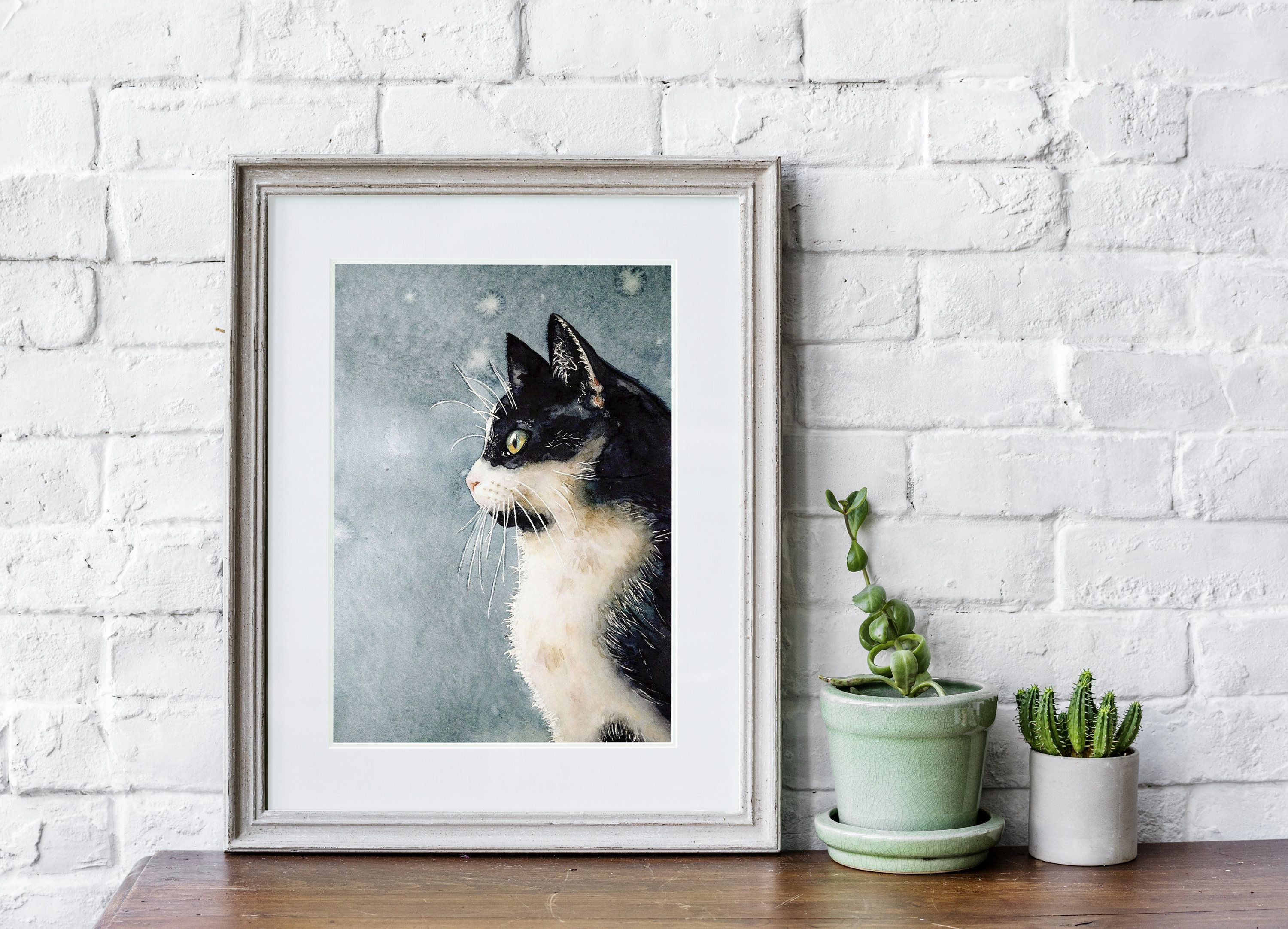 Black and white cat. cat portrait. cat decor. black and white gift. cat on the wall. beautiful cat.  gift for cat lovers. Wall Decor