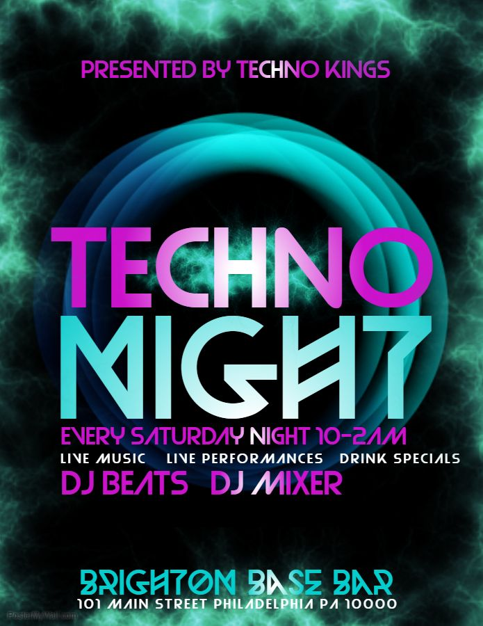 Nightclub Poster Template  Techno Night Click On The Image To