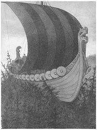 vættir | Vikingschip (met draak ) uit Norske folkeeventyr