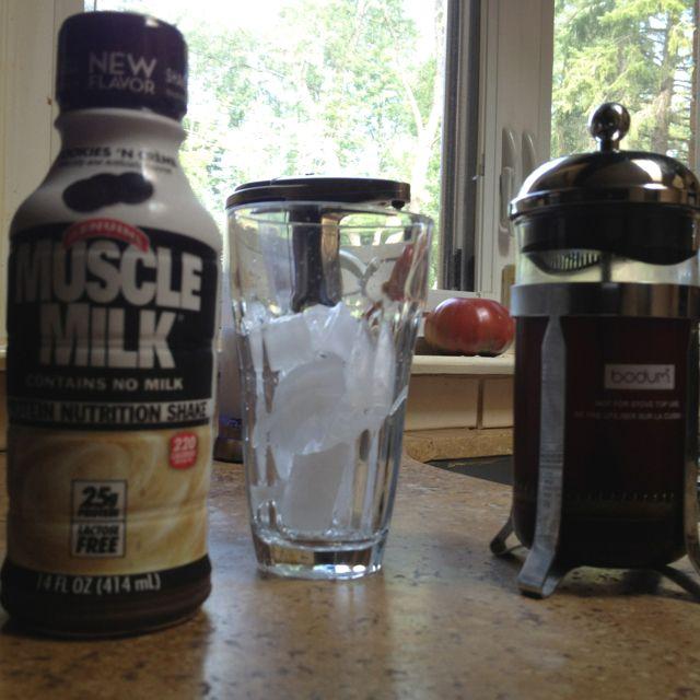 Coffee + MuscleMilk + Ice = Amazing breakfast/Post-Morning Workout drink.