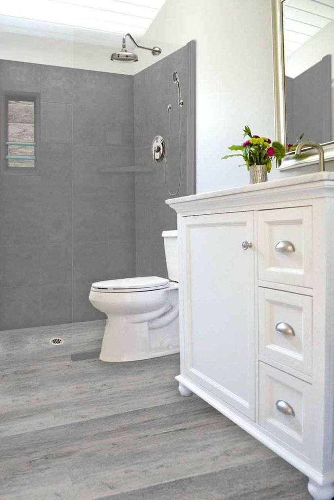 """Sterling Oak with Wet Cement Walls & Trim 60"""" LifeProof ..."""