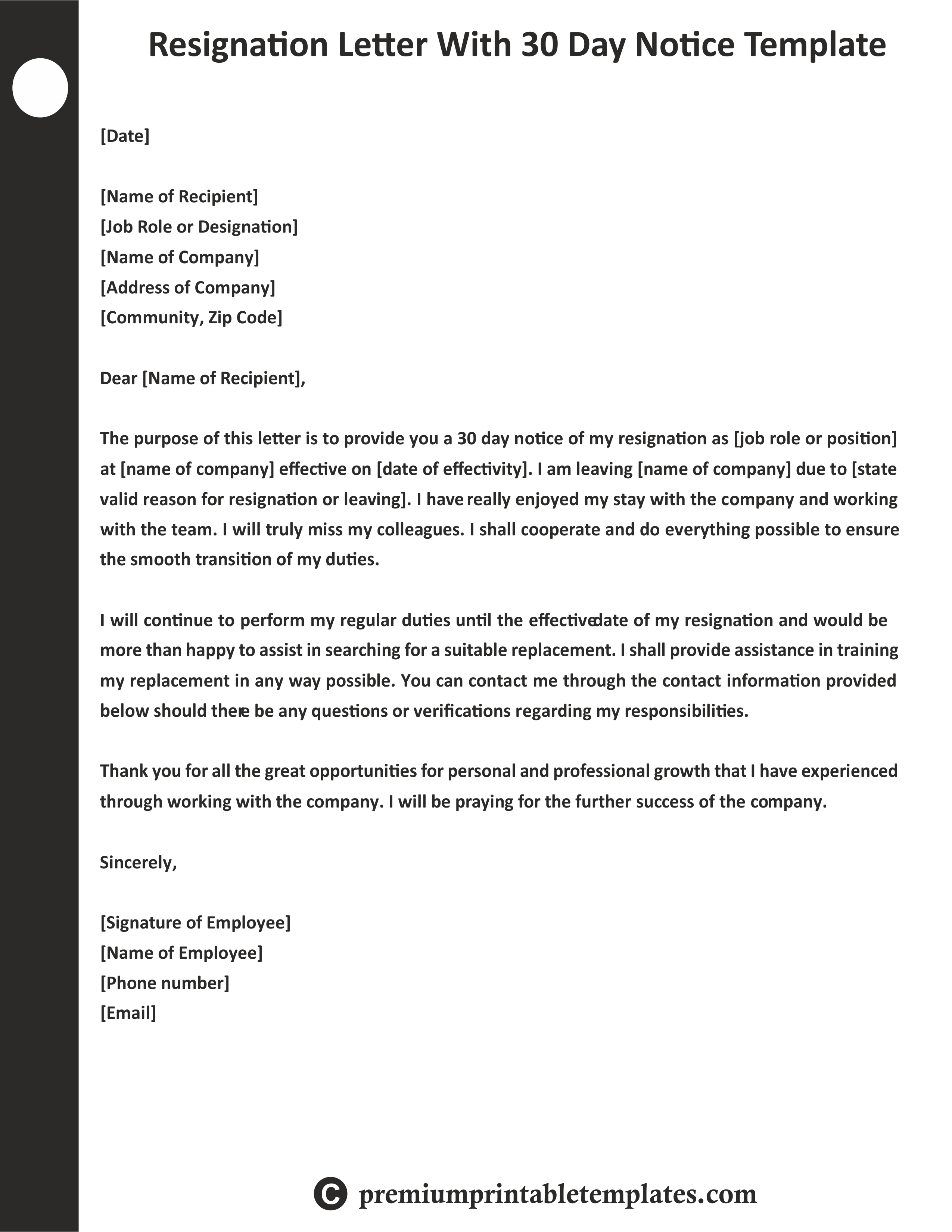 Resignation Letter with 30 Days Notice Template ...