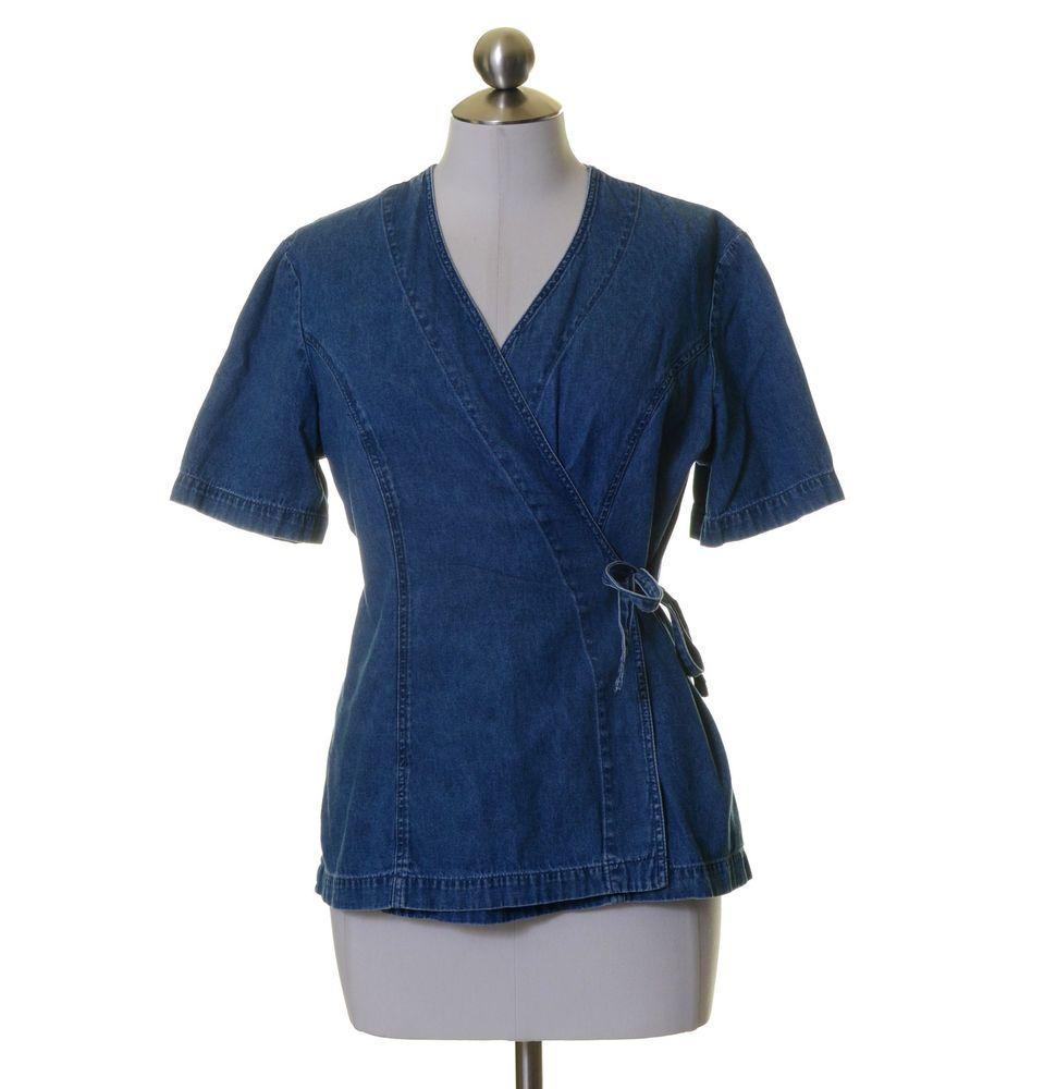Coldwater Creek Medium Blue Denim Wrap Style Shirt Size M