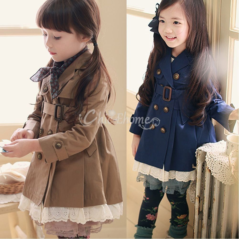 Girls Kids Double Breasted Wind Jacket Trench Coat Parka Fall ...