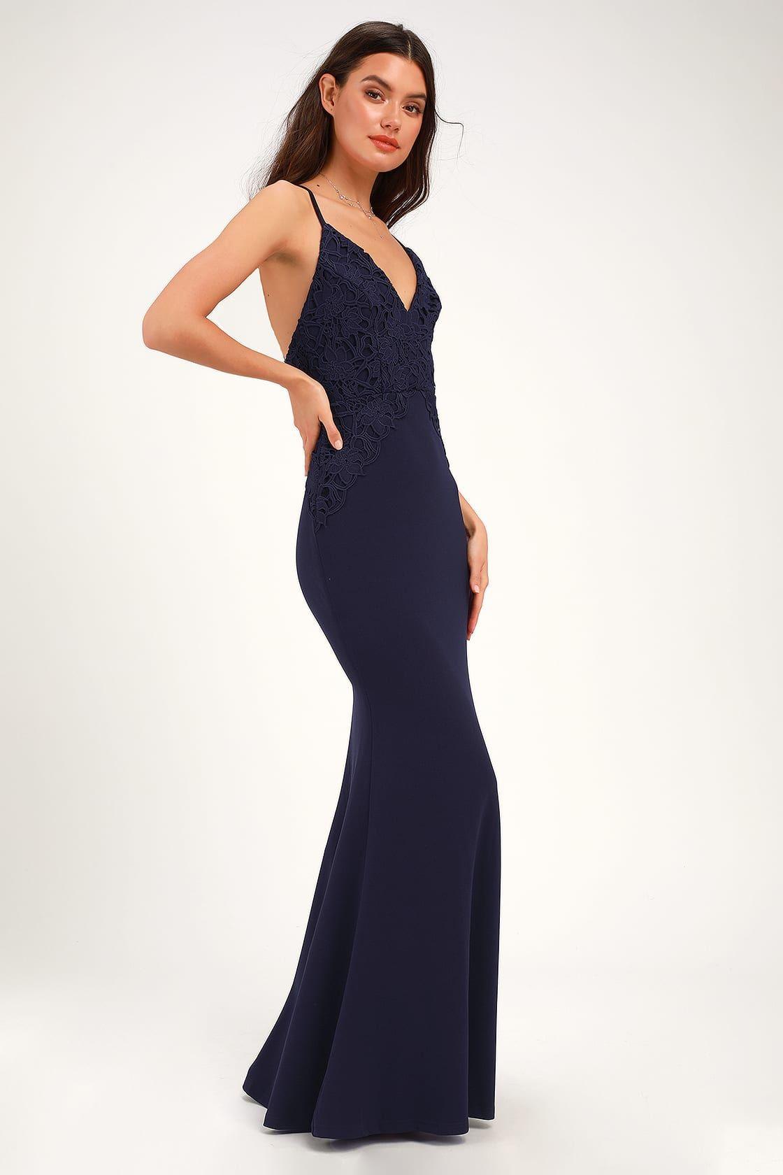 cb78004d829d Katalina Navy Blue Backless Crochet Lace Maxi Dress in 2019   Prom ...