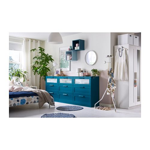 BRIMNES 3-drawer chest - dark green-blue, frosted glass ...
