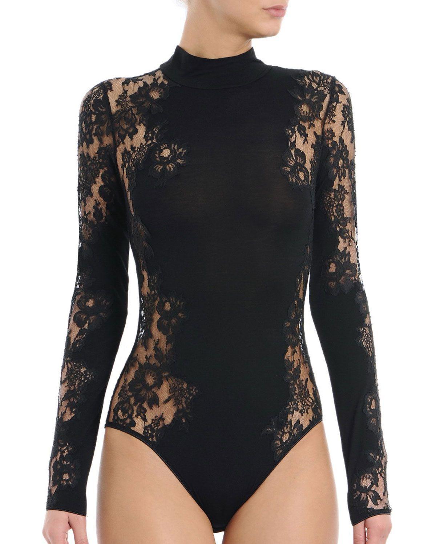 39b28ad3c4 I.D. Sarrieri Noir Comme La Robe Long-Sleeve Lace Bodysuit
