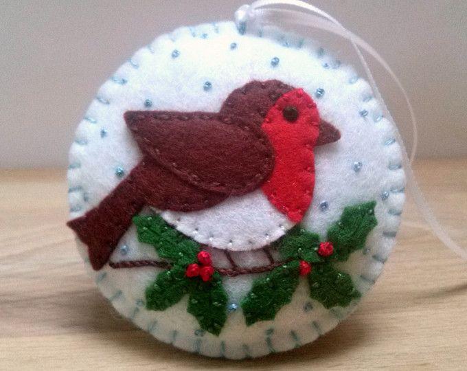 Senta Robin pjaro ornamento adornos Navidad fieltro decoracin