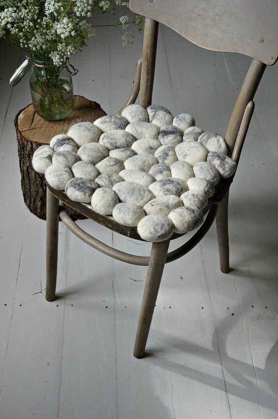 Felt Stones Seat Cushion Scandinavian Home Decor Chair Pad Pillow By Felt Interior Design Handmade Chair Chair Pads Home Decor