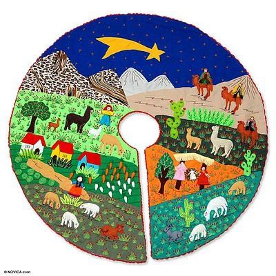 Unicef Market Richly Detailed Folk Art Christmas Tree Skirt