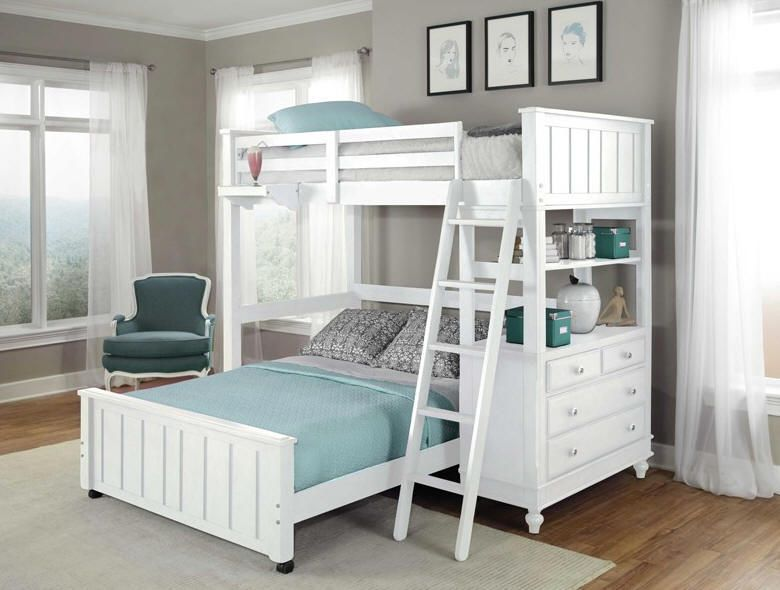 Twin Over Queen Bunk Bed White | galleryhip.com - The ...