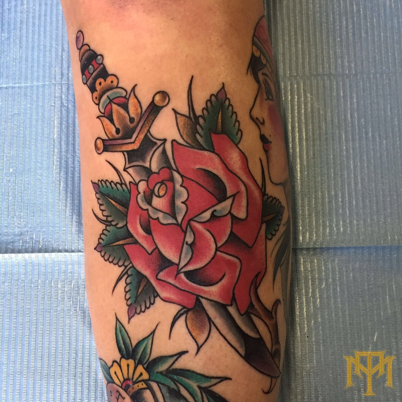Rose Dagger tattoo by Luke Smith from TRADE MARK TATTOO Durban South Africa