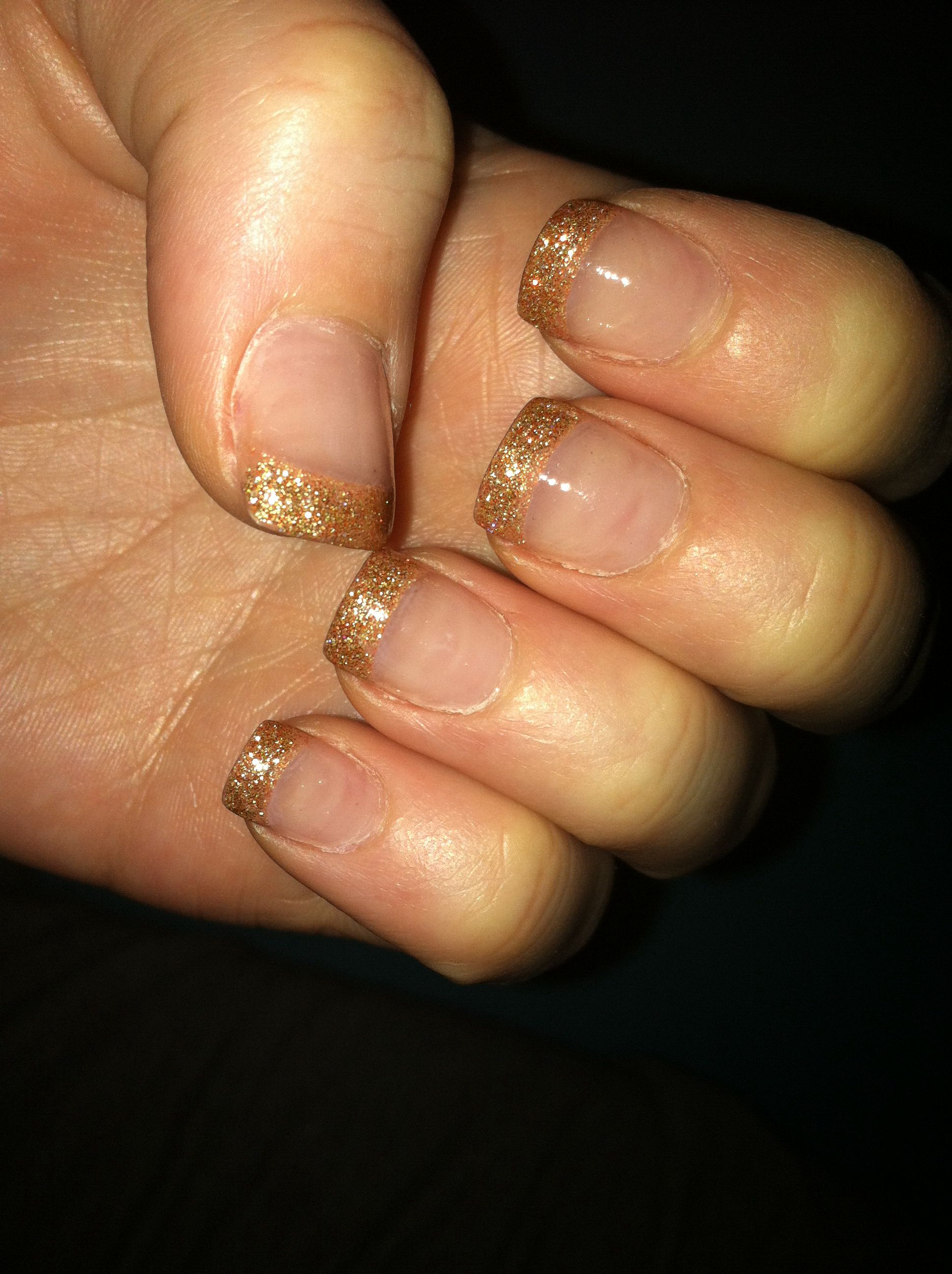 Gold tips acrylic fake nails opi I herd that sparkle square French ...