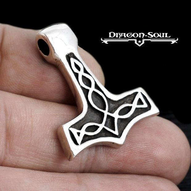 BALLTOP THORS HAMMER NORSE KNOTWORK PENDANT STERLING SILVER DRAGON SOUL JEWELRY #DragonSoulJewelry