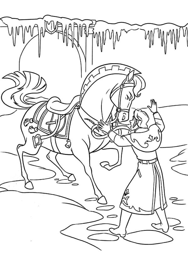 Hans Is Trying To Settle The Horse Down Coloring Pages Coloring Sun Coloring Pages Coloring Pages For Kids Coloring Pictures