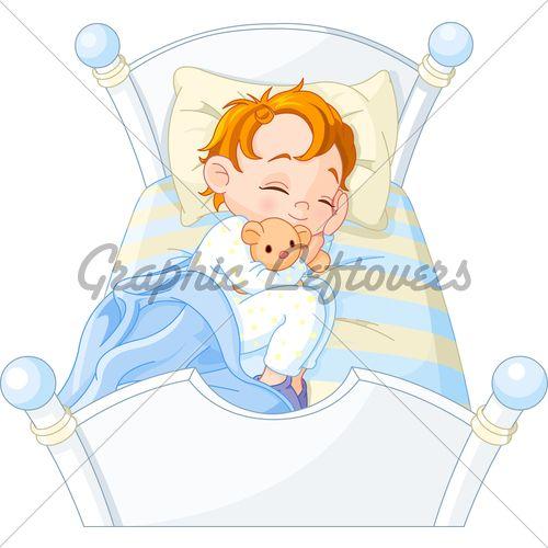 Cute Little Boy Sleeping In His Bed Sleep Cartoon Cute Little