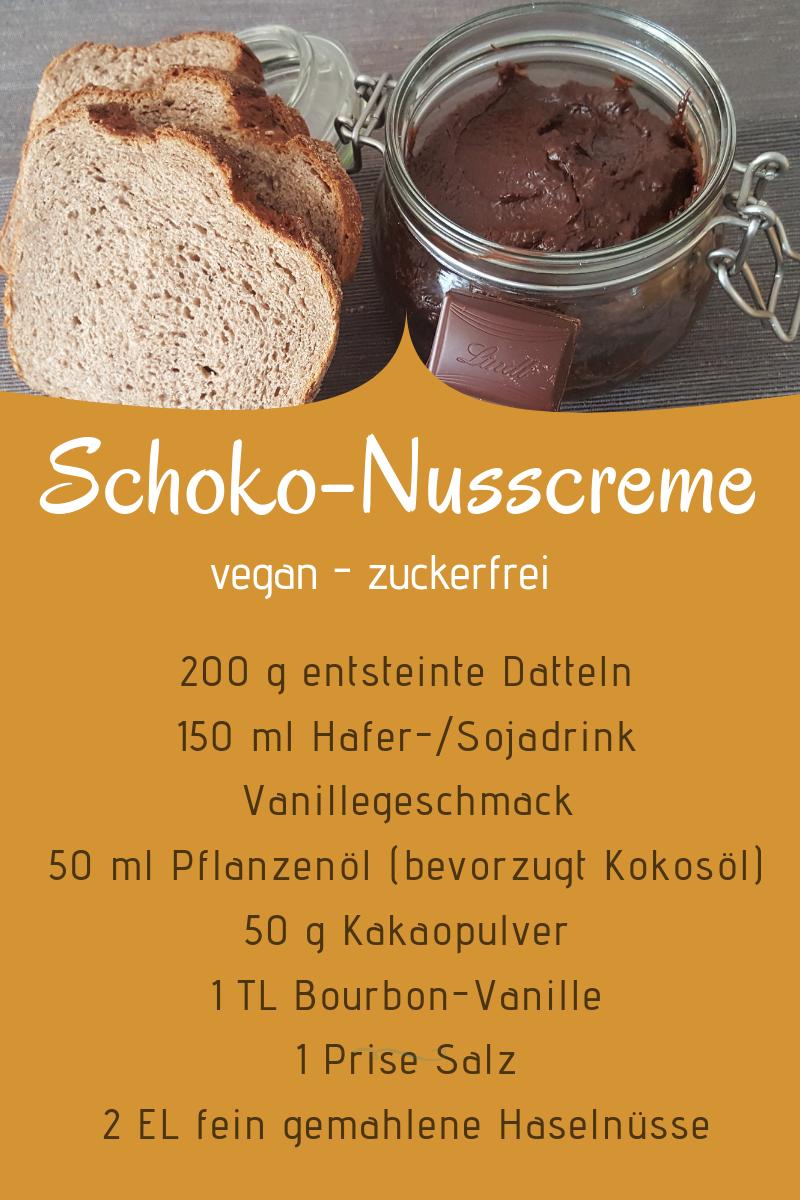 Schoko-Nusscreme, vegan und zuckerfrei