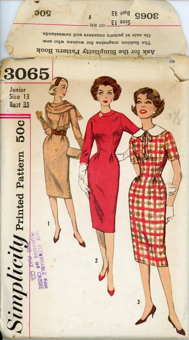 Simplicity 3065 Junior 1950s Dress Pattern Sheath Dress with Scarf and Detachable Round Collar Womens Vintage Sewing Pattern Bust 33. $14.00, via Etsy.