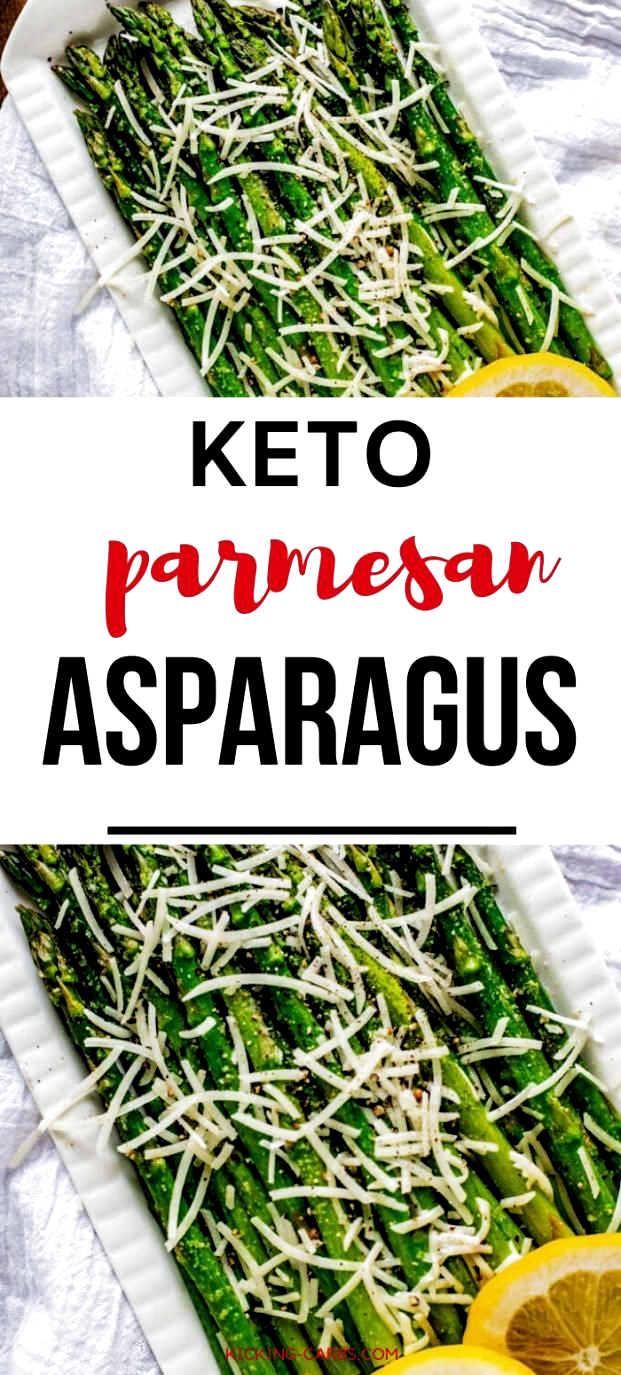 Looking for low carb recipes for the holidays?  This Keto Asparagus with Parmesan Cheese is the perfect easy side dish.  You can make it in the oven or in your air fryer. #kickingcarbs #asparagus #garlic #sidedish #keto #lowcarb #holidayrecipes #Thanksgiving #Christmas #vegetables #paleodinner