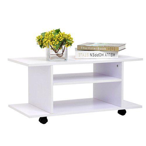 meuble tv bas table basse roulettes en panneaux de particules blanc neuf09 - Meuble Tv Blanc Sur Roulettes