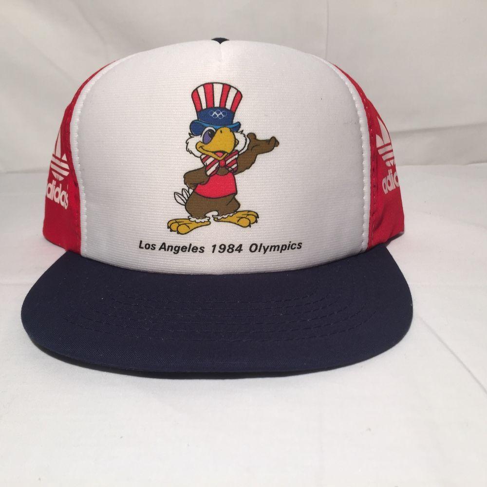94d59270405 VINTAGE ADIDAS USA 1984 OLYMPICS SNAPBACK TRUCKER HAT LOS ANGELES  adidas   USA