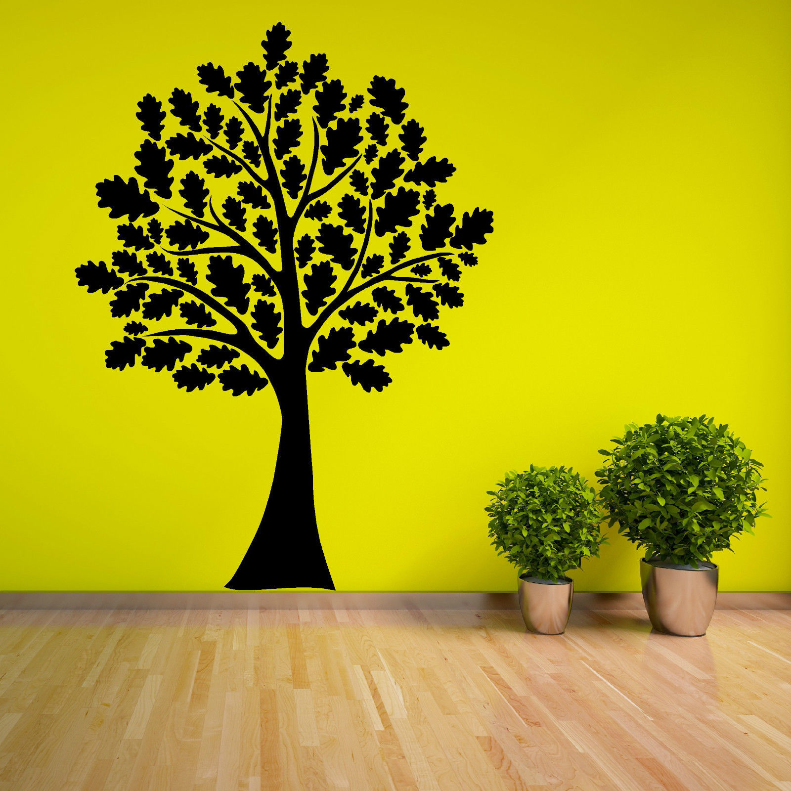 Oak Tree With Leaves Vinyl Wall Art Room Sticker Decal Woodland ...