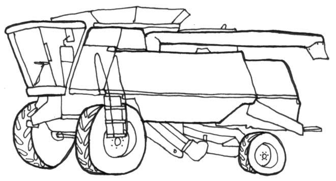 combine harvester line drawing - John Deere Combine Coloring Pages
