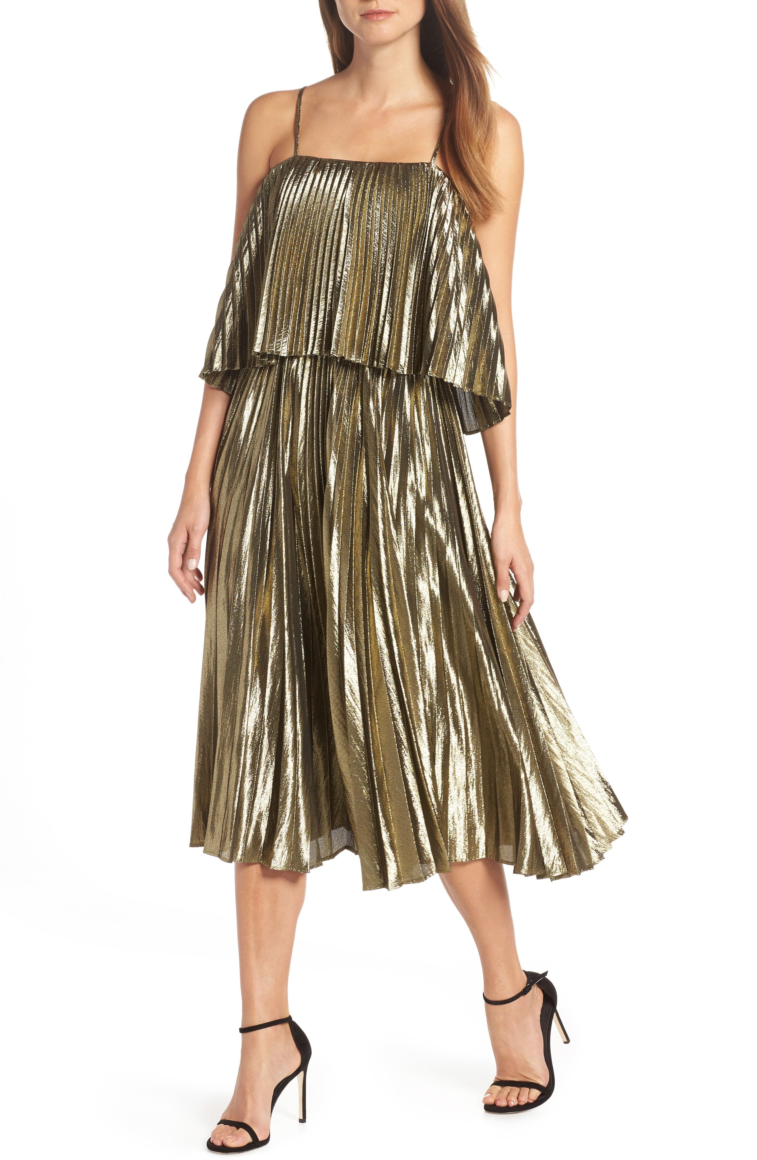 67e8a6182d J.Crew Collection Gold Lamé Pleated Midi Dress   holidays I outfit ...