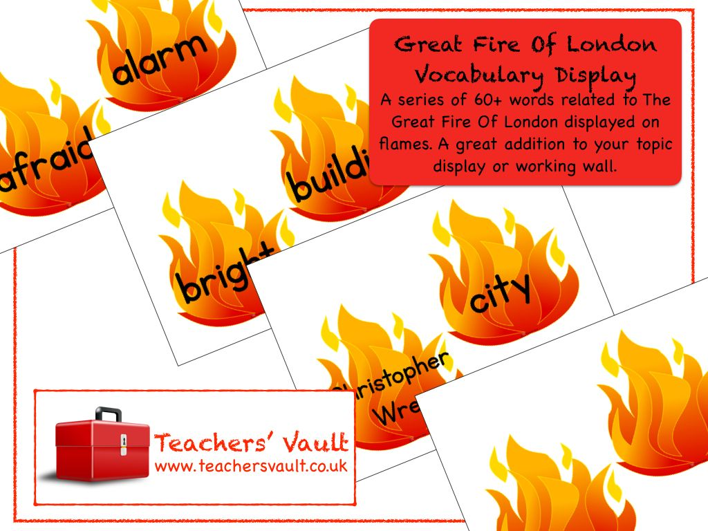 Great Fire Of London Vocabulary Display