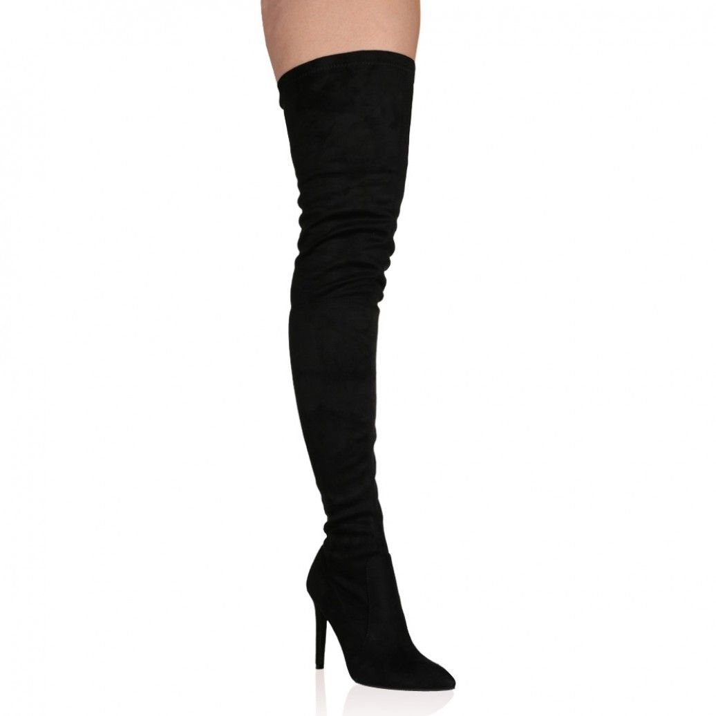 a0ca104f332 Alexus Thigh High Boots in Black Faux Suede