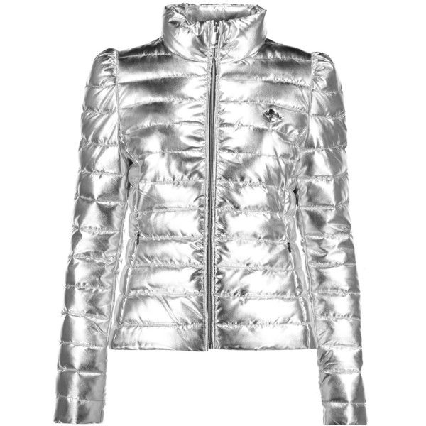 512c0c7c900bf Love Moschino Metallic quilted shell jacket ($215) ❤ liked on Polyvore  featuring outerwear, jackets, silver, slim jacket, love moschino, zipper  jacket, ...