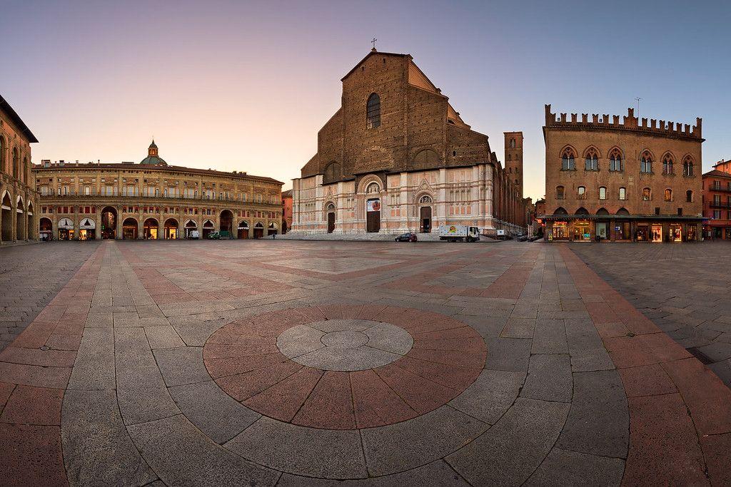 Piazza Maggiore and San Petronio Basilica in the Morning, Bologna, Emilia-Romanga, Italy