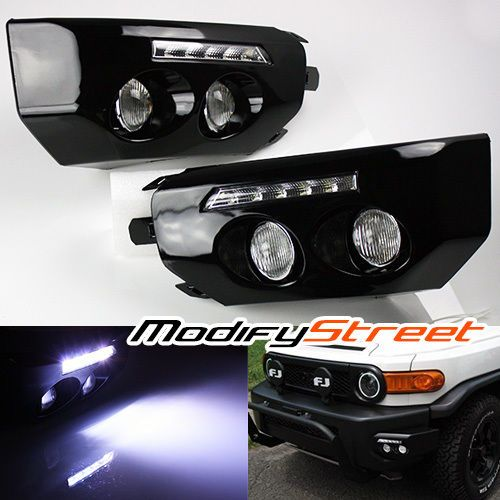 For 07 14 Fj Cruiser Black Front Bumper Wing Led Drl Fog Lights