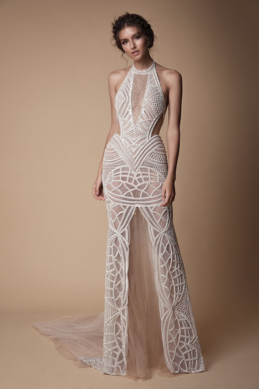 High necked sleeveless wedding gown with sheer middle slit and side panels     You ve seen the sexy yet sweet Muse by Berta 2018 wedding dress  collection 0c4adcd10
