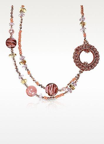 Avant Gard 2 Pink Murano Glass Long Necklace - Antica Murrina   My ...