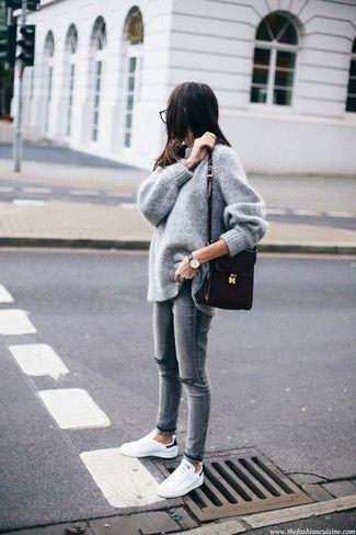 c4785a565 Look de moda: Jersey Oversized Gris, Vaqueros Pitillo Desgastados ...
