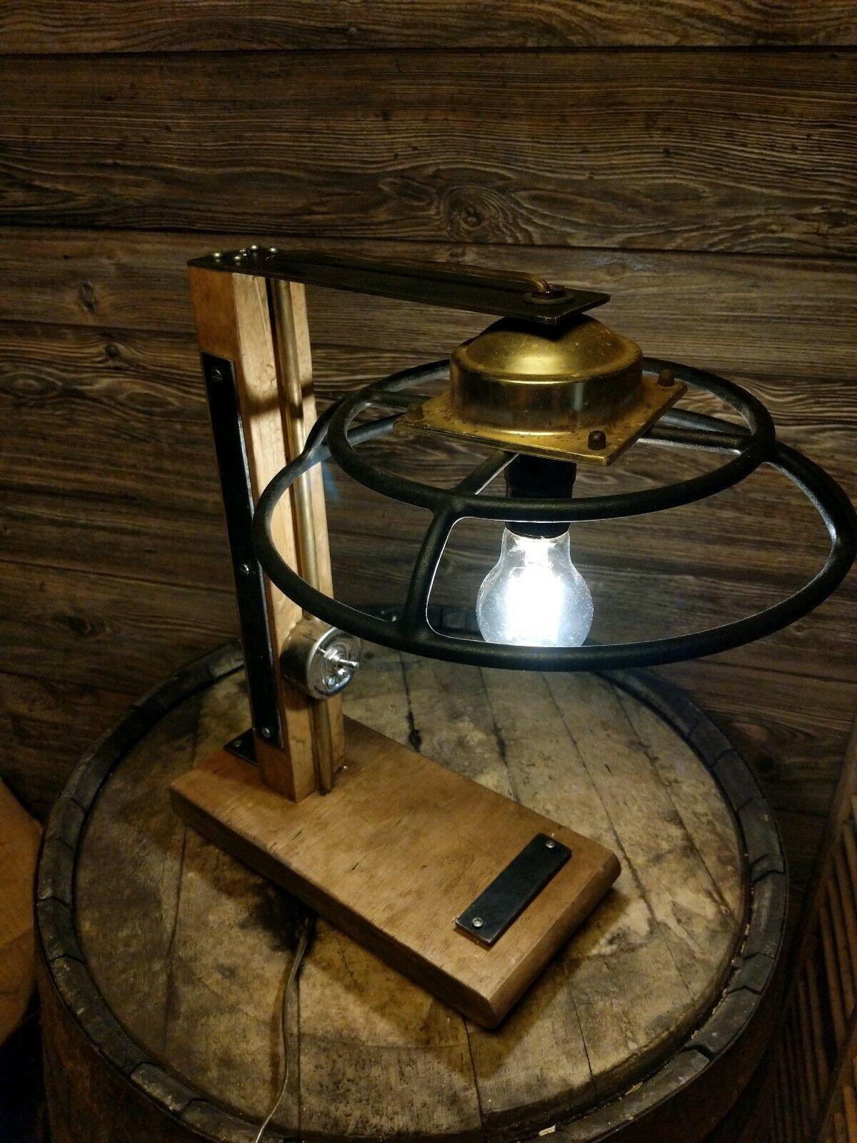 Custom Industrial Steampunk Lamp Vintage Salvaged Parts Brass Wood Steel Ebay Industrial Lamp Steampunk Lamp Lamp