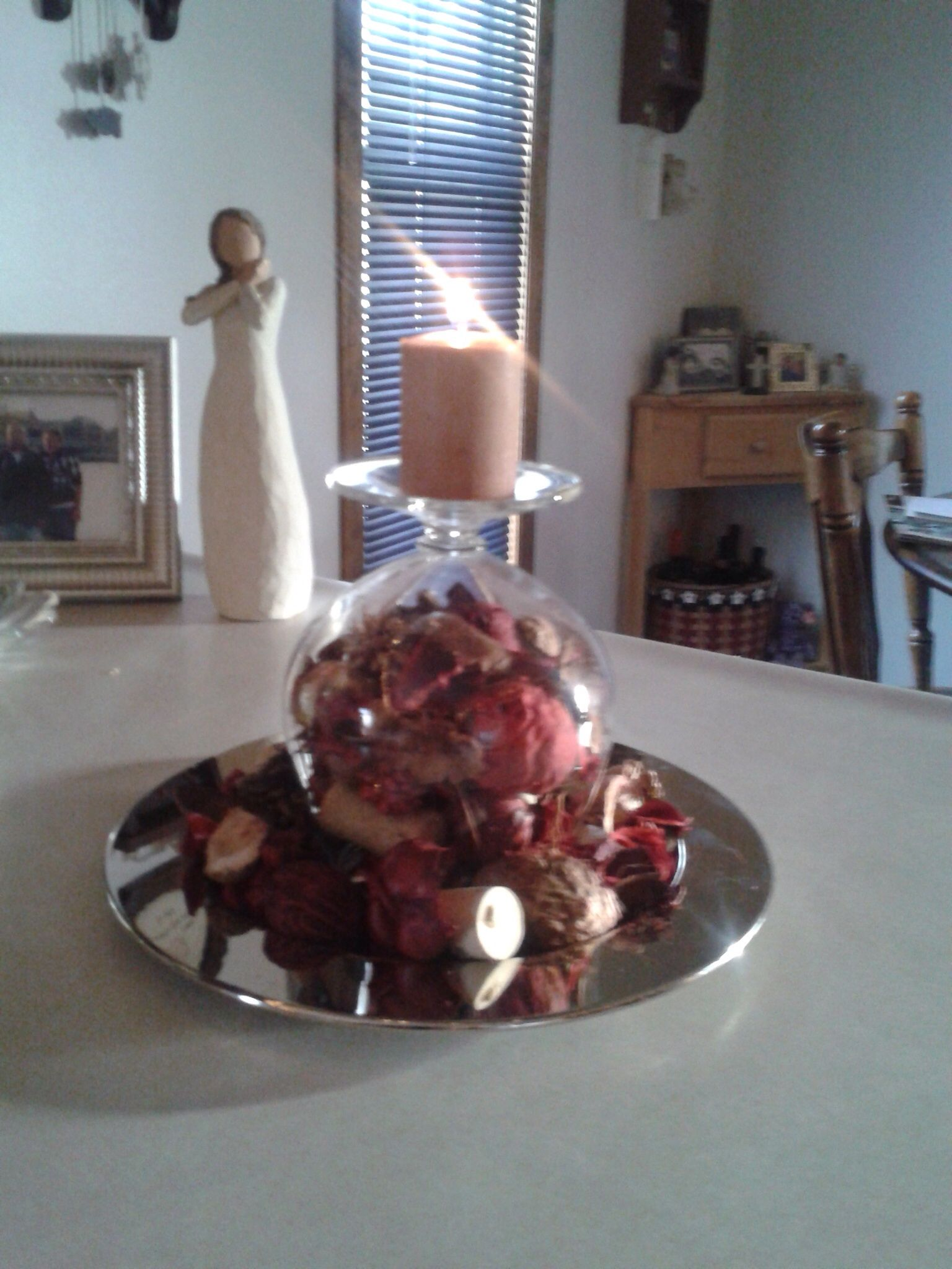 Really Great Winter Centerpiece If You Have A Brandy Snifter